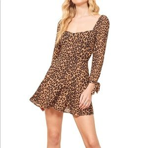 Reformation, Beatrice leopard fit & flare dress